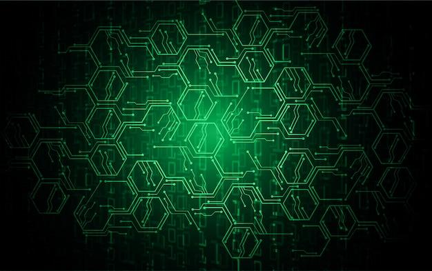 Fondo de concepto de tecnología futura de circuito cibernético hexagonal verde