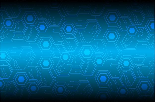Fondo de concepto de tecnología futura de circuito cibernético hexágono azul