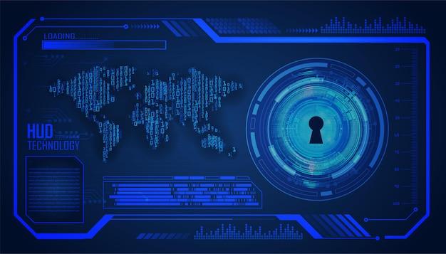 Fondo de concepto de tecnología futura del circuito cibernético de hud mundial