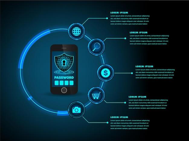 Fondo de concepto de tecnología futura de circuito cibernético de hud