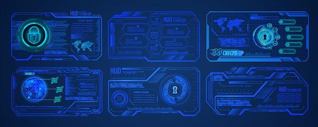 Fondo de concepto de tecnología futura de circuito cibernético mundial azul de hud, candado cerrado en digital