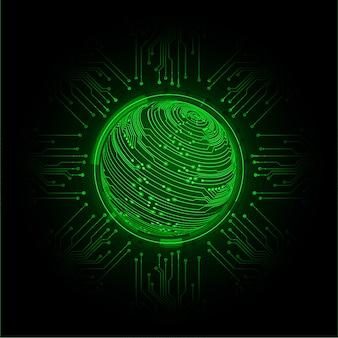 Fondo de concepto de tecnología futura de circuito cibernético mundial azul