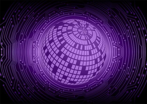 Fondo de concepto de tecnología futura de circuito cibernético mundo púrpura
