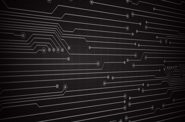 Fondo de concepto de tecnología futura del circuito cibernético negro