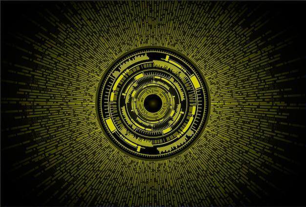 Fondo de concepto de tecnología futura de circuito cibernético de ojo amarillo