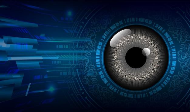 Fondo de concepto de tecnología futura de circuito cibernético de ojo azul