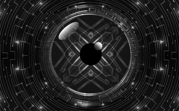 Fondo de concepto de tecnología futura de circuito cibernético de ojo negro