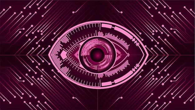 Fondo de concepto de tecnología futura del circuito cibernético de ojo púrpura