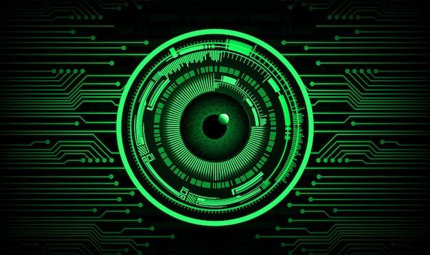 Fondo de concepto de tecnología futura del circuito cibernético de ojo verde