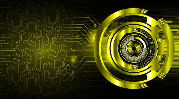 Fondo de concepto de tecnología futura de circuito cibernético de ojo