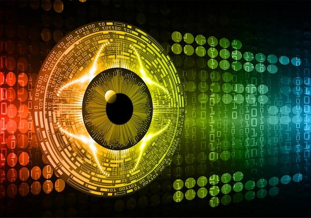 Fondo de concepto de tecnología futura de circuito cibernético de ojos rojos azules
