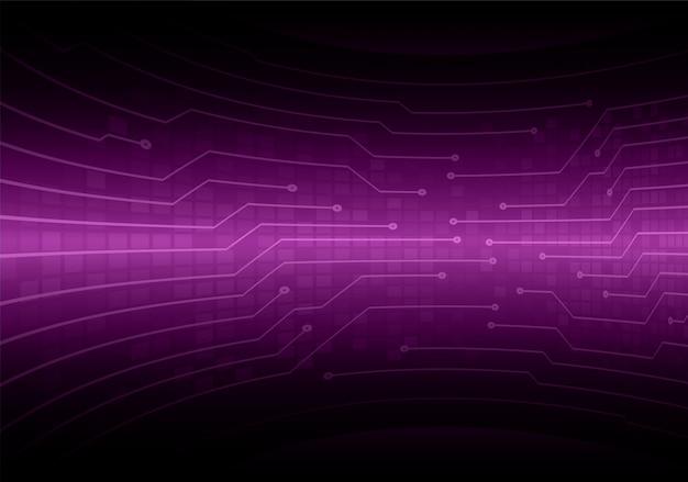Fondo de concepto de tecnología futura del circuito cibernético púrpura