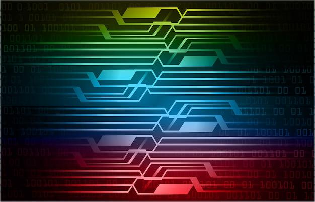 Fondo de concepto de tecnología futura de circuito cibernético rojo amarillo azul