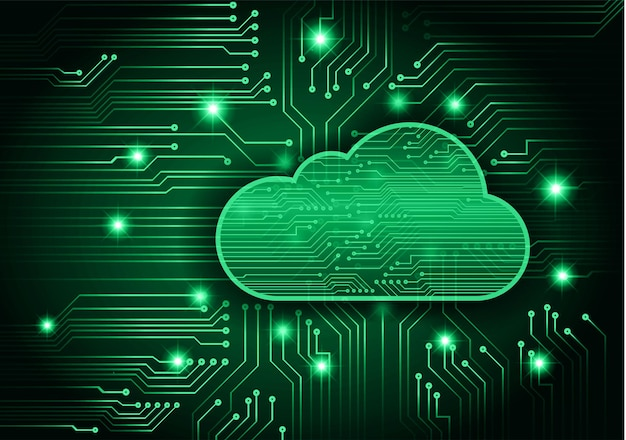 Fondo de concepto de tecnología futura de circuito de computación en nube