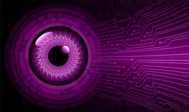 Fondo de concepto de tecnología futura de circuito púrpura cyber eye