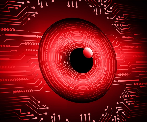 Fondo de concepto de tecnología futura de circuito rojo cibernético