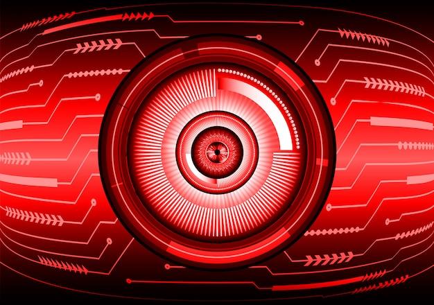 Fondo de concepto de tecnología futura de circuito rojo cyber eye