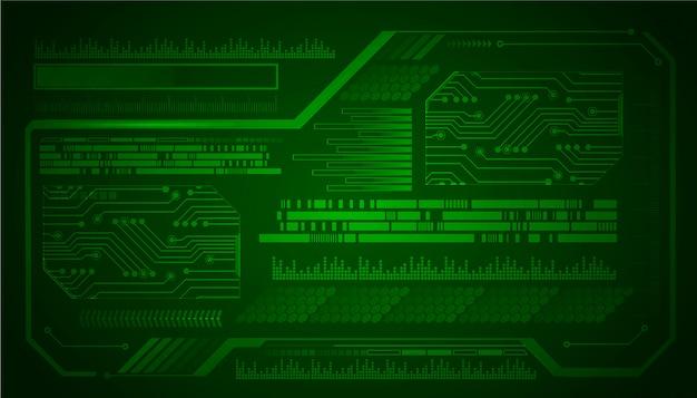 Fondo de concepto de tecnología futura de circuito verde cibernético de hud