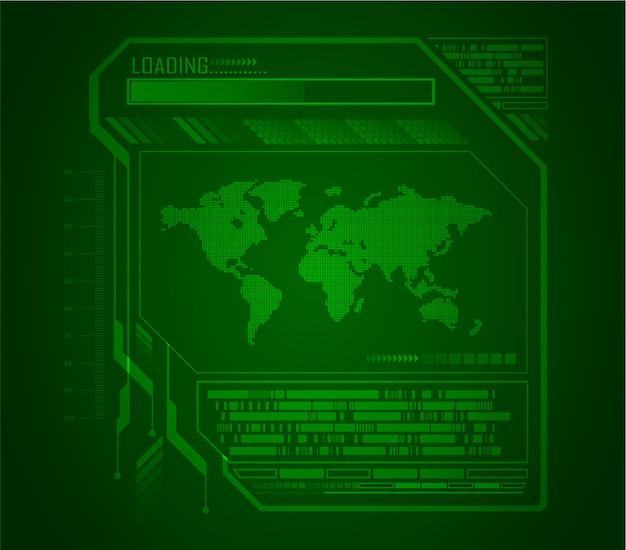 Fondo de concepto de tecnología futura de circuito verde mundo cibernético