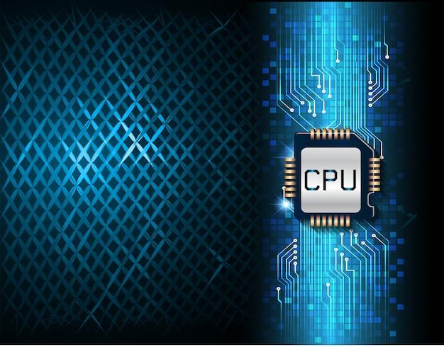 Fondo de concepto de tecnología futura cpu azul ciber circuito
