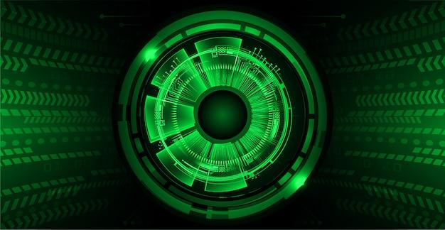 Fondo de concepto de tecnología futura de ojo verde ciber circuito