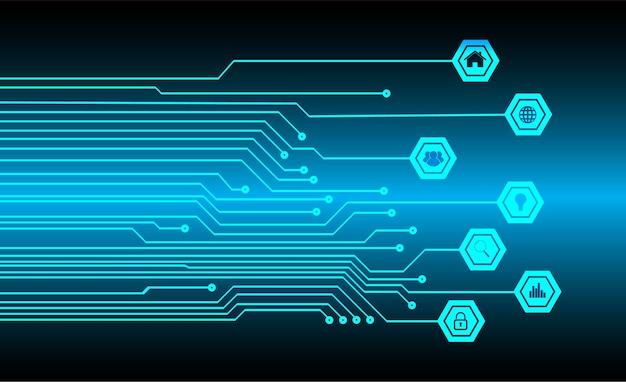 Fondo de concepto de tecnología futuro circuito cyber azul