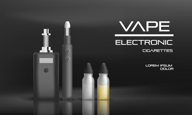 Fondo de concepto de vape electrónico. ilustración realista de fondo de concepto de vector de vape electrónico para diseño web