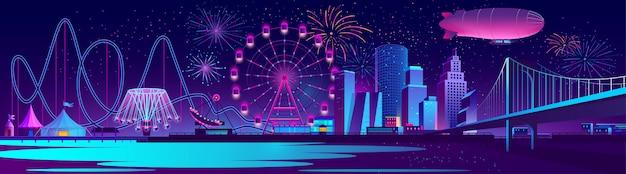 Fondo de concepto de vector con la ciudad de noche