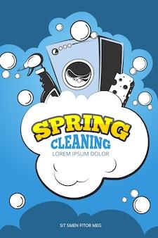 Fondo de concepto de vector de servicio de limpieza de primavera, cartel