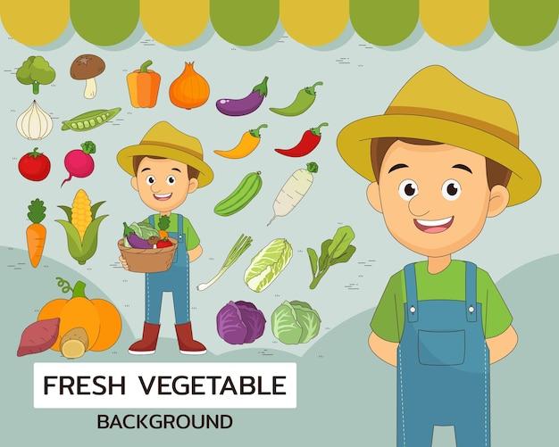 Fondo del concepto de verduras frescas. iconos planos.