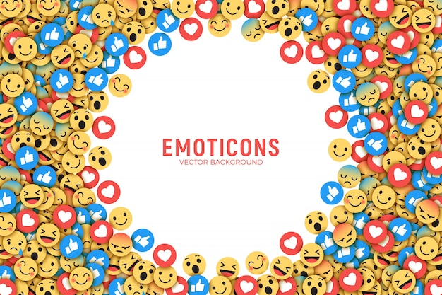 Fondo conceptual de facebook flat emoji moderno
