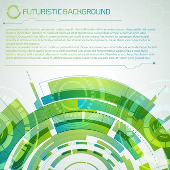 Fondo conceptual de tecnología virtual moderna con título superior de semicírculo en capas verdes futurista y gran lugar para descripción de texto editable