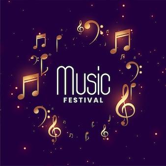 Fondo de concierto del festival de música con notas musicales doradas