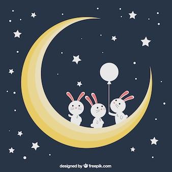 Fondo de conejitos en la luna