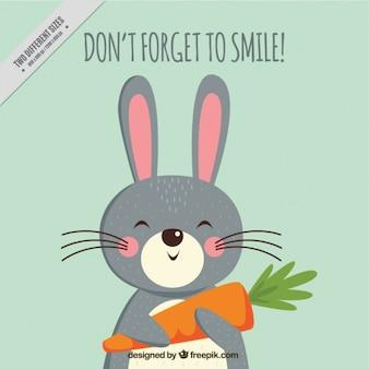 Fondo de conejo feliz con zanahoria