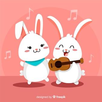 Fondo conejos kawaii cantando