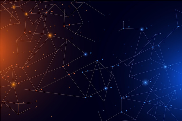 Fondo de conexión de red de estilo degradado