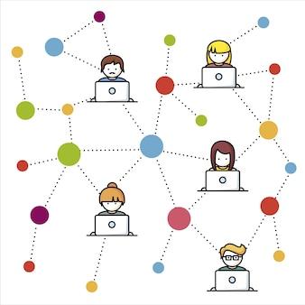 Fondo con conexión de red de trabajo