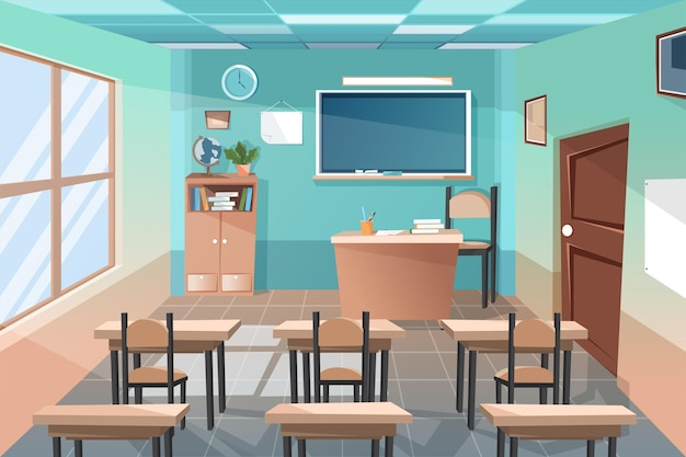 Fondo de conferencia de clase de escuela vacía