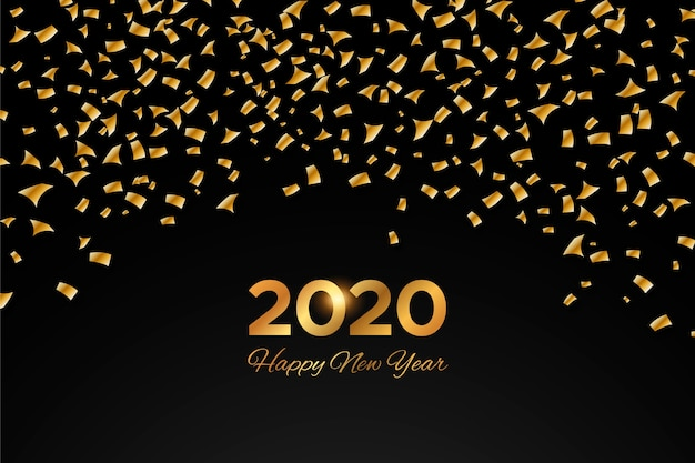 Fondo de confeti año nuevo 2020
