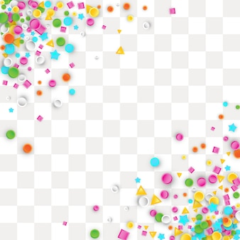 Fondo de confeti de carnaval de colores hecho de formas geométricas de estrella, cuadrado, triángulo, círculo.