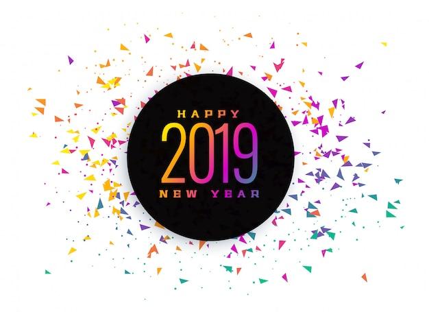Fondo de confeti colorido de celebración de 2019