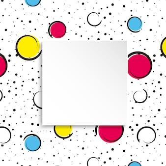 Fondo de confeti colorido pop art grandes manchas y círculos de colores.