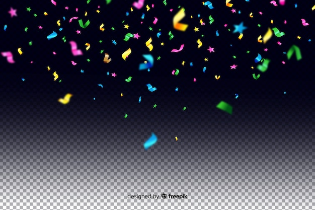 Fondo de confeti colorido realista
