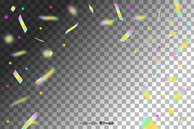 Fondo de confeti de decoración de color holográfico