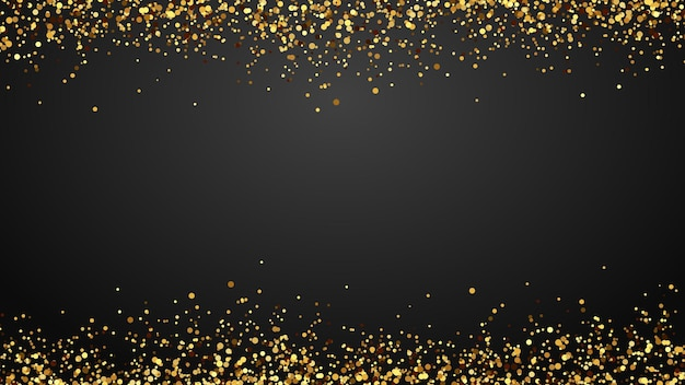 Fondo de confeti dorado brillante que cae sobre fondo blanco. destellos de diseño de lujo premium y oropel para decoración de fiestas. piezas de papel dorado volando en ambos lados ilustración vectorial