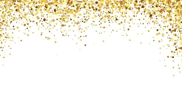 Fondo de confeti dorado. decoración de oropel brillante y brillante para la celebración de eventos. piezas festivas brillantes que caen desde arriba para felicitación de cumpleaños, tarjetas de invitación ilustración vectorial
