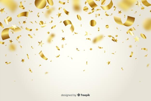 Fondo de confeti dorado realista