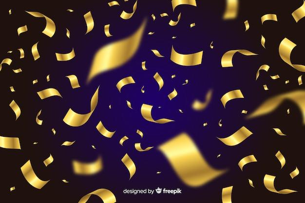 Fondo de confeti dorado sobre fondo negro
