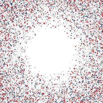 Fondo de confeti estrella del 4 de julio, día de la independencia
